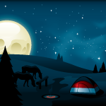 campsite at night illustration